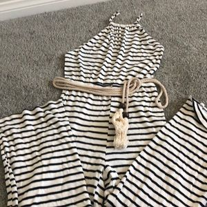 Striped backless capris romper